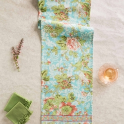 April Cornell Table Runner Tea Rose Collection Aqua Floral