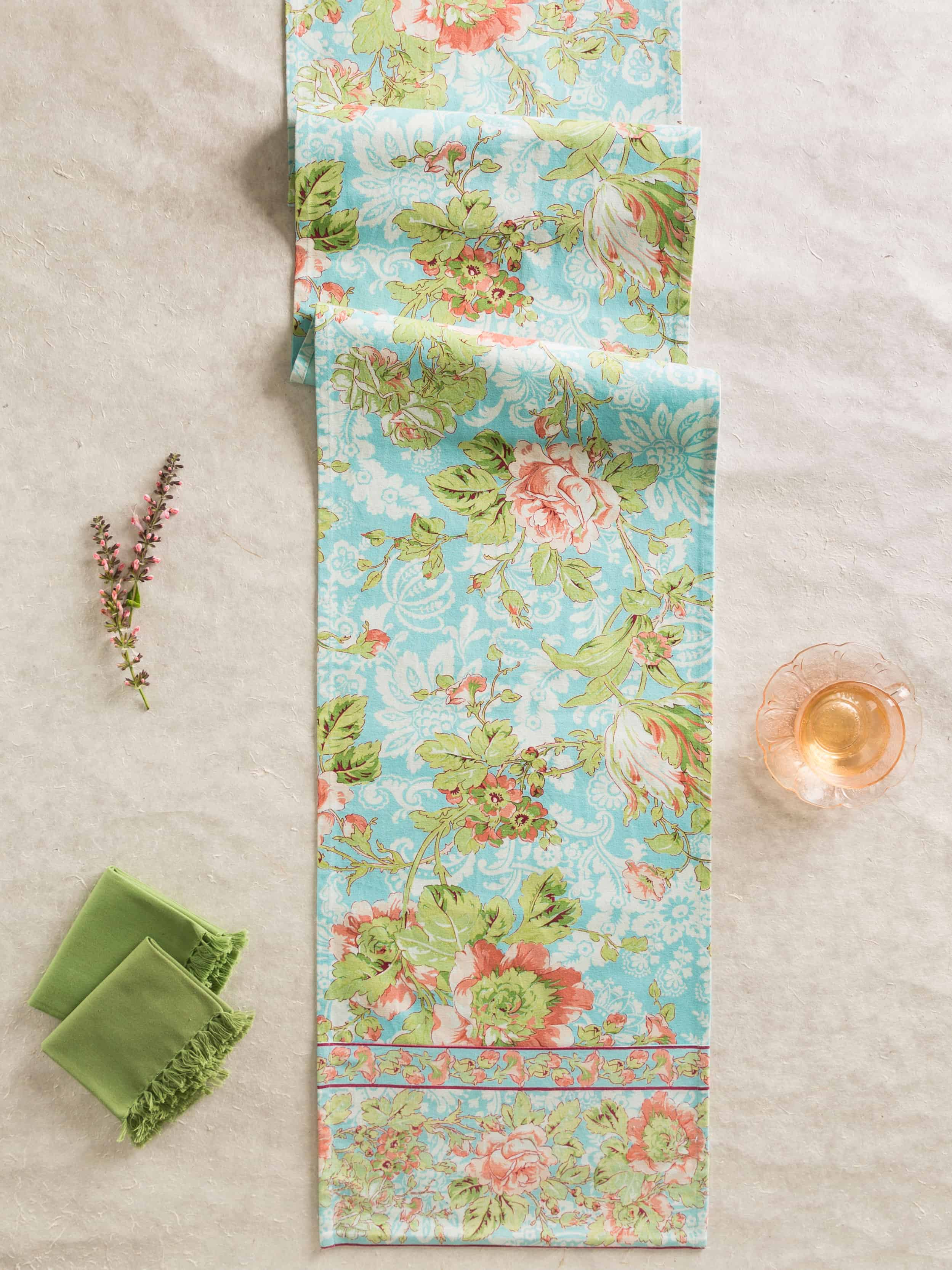Placemats April Cornell Table Runner Tea Rose Collection Aqua Fl