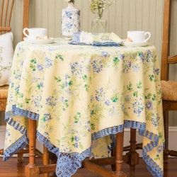 April Cornell Tablecloth Prairie Crochet 54x54 Yellow