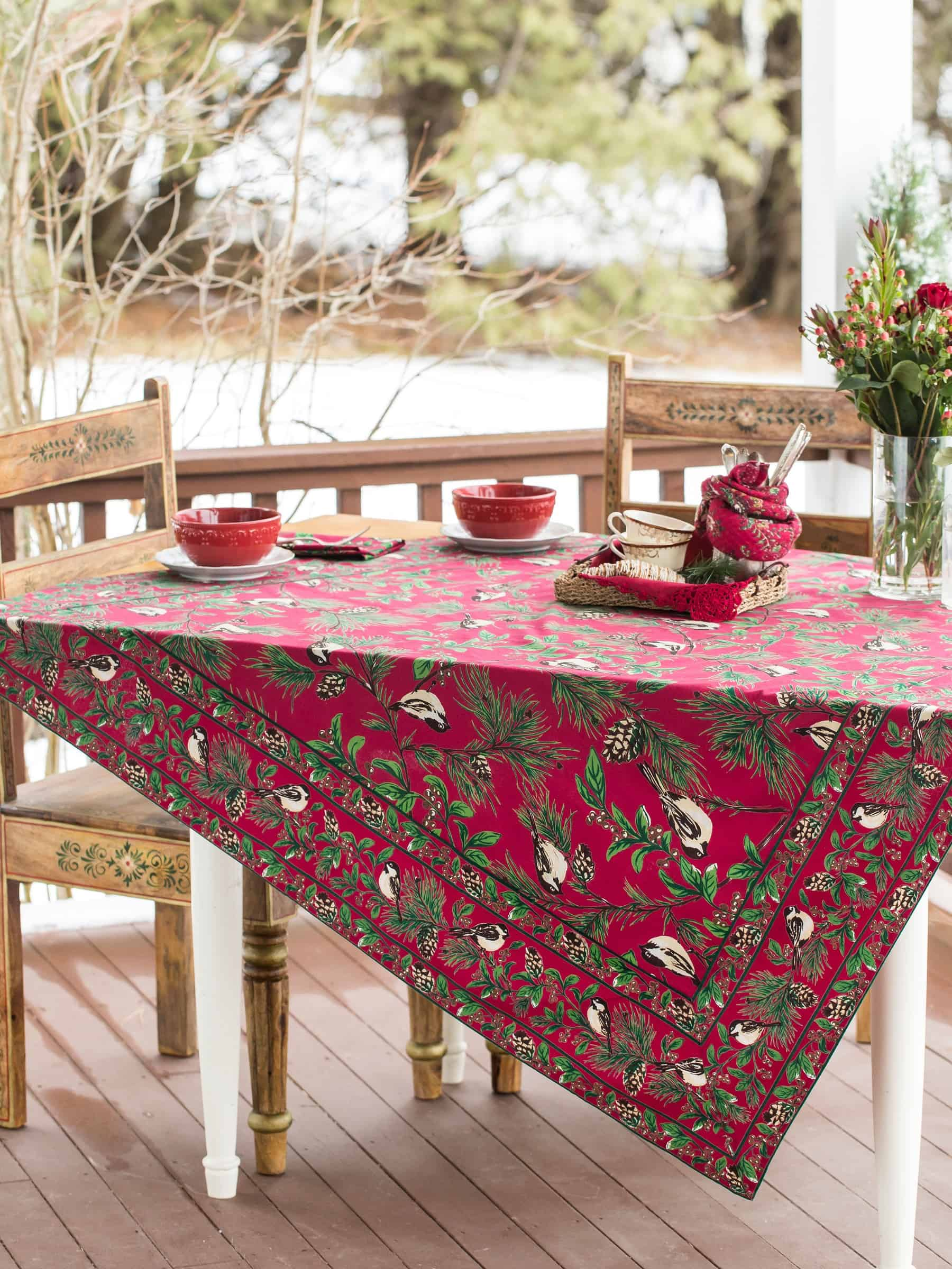 April Cornell Tablecloth Chickadee Collection 54x54