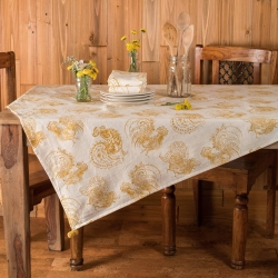 April Cornell Backyard Rooster Tablecloth 48x48.