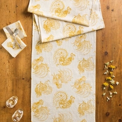 April Cornell Table Runner Backyard Rooster Gold