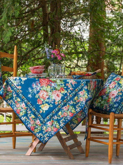 April Cornell Tablecloth 54x54 Cottage Rose Blue