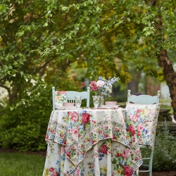 April Cornell Tablecloth Cottage Rose 54x54 Ecru Floral