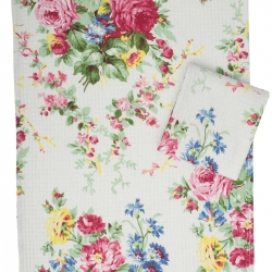 April Cornell Tea Towel Cottage Rose Ecru Floral