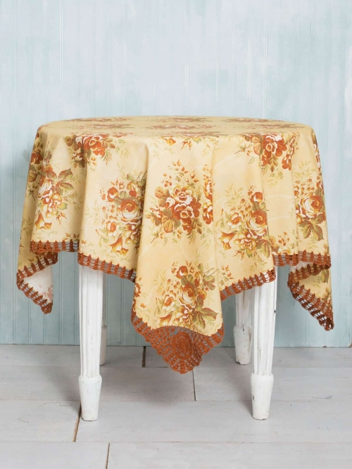 April Cornell Tablecloth Rosalie Crochet 54x54 Gold