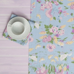 April Cornell Table Runner Friendly Aqua