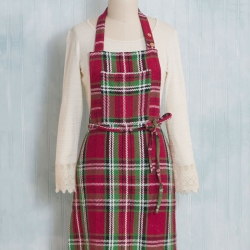 April Cornell Apron Merry Tartan Plaid.