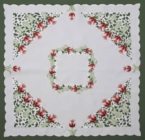 "Tablecloth Topper Tulips 33.5"" Table Topper"