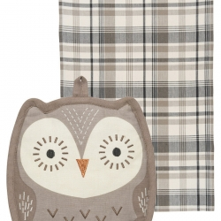 Pocket Pals Oliver Owl Potholder Dish Towel 2 Pc