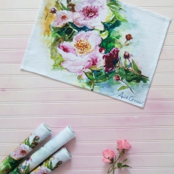 April Cornell Placemats Set 4 Peony Flowers
