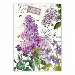 Michel Design Works Kitchen Tea Towel Lilac Violets Cotton Dish Towel Floral