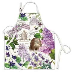 Michel Design Works Cotton Apron Lilac & Violets Floral Bee Hives Bees NWT