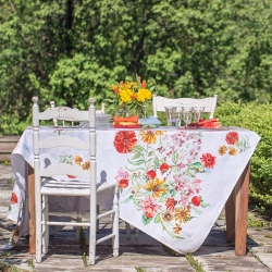 April Cornell Tablecloth Zinnia Bouquet 54x54